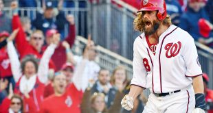 Oct 9, 2016; Washington, DC, USA; Washington Nationals left fielder Jayson Werth (28) celebrates after scoring against the Los Angeles Dodgers during the seventh inning during game two of the 2016 NLDS playoff baseball series at Nationals Park. Mandatory Credit: Brad Mills-USA TODAY Sports