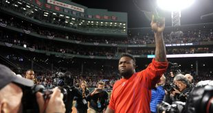 Oct 10, 2016; Boston, MA, USA; Boston Red Sox designated hitter David Ortiz (34) salutes the fans after the loss against the Cleveland Indians in game three of the 2016 ALDS playoff baseball series at Fenway Park. Mandatory Credit: Bob DeChiara-USA TODAY Sports