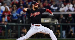 Oct 14, 2016; Cleveland, OH, USA; Cleveland Indians starting pitcher Corey Kluber throws a pitch against the Toronto Blue Jays in the first inning in game one of the 2016 ALCS playoff baseball series at Progressive Field. Mandatory Credit: Ken Blaze-USA TODAY Sports