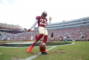 Oct 15, 2016; Tallahassee, FL, USA; Florida State Seminoles kicker Ricky Aguayo (23) warms up before the game against the Wake Forest Demon Deacons at Doak Campbell Stadium. Mandatory Credit: Melina Vastola-USA TODAY Sports