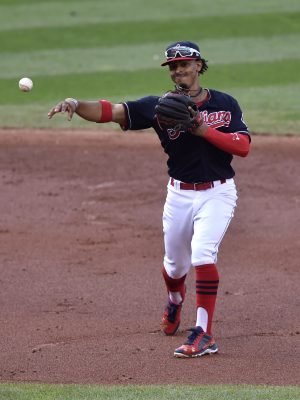 Oct 15, 2016; Cleveland, OH, USA; Cleveland Indians shortstop Francisco Lindor (12) throws out Toronto Blue Jays left fielder Ezequiel Carrera (not pictured) during the third inning of game two of the 2016 ALCS playoff baseball series at Progressive Field. Mandatory Credit: David Richard-USA TODAY Sports