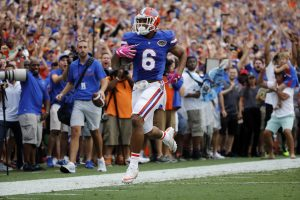 Oct 15, 2016; Gainesville, FL, USA; Florida Gators defensive back Quincy Wilson (6) intercepted the ball and ran it back for a touchdown against the Missouri Tigers eduring the second quarter at Ben Hill Griffin Stadium. Mandatory Credit: Kim Klement-USA TODAY Sports