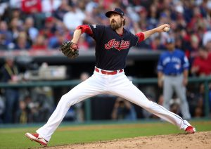 Oct 15, 2016; Cleveland, OH, USA; Cleveland Indians relief pitcher Andrew Miller (24) throws against the Toronto Blue Jays during the seventh inning of game two of the 2016 ALCS playoff baseball series at Progressive Field. Mandatory Credit: Charles LeClaire-USA TODAY Sports