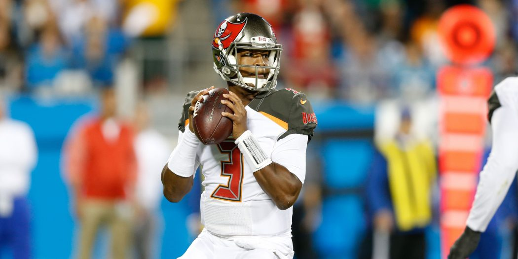 Oct 10, 2016; Charlotte, NC, USA;  Tampa Bay Buccaneers quarterback Jameis Winston (3) drops back to pass during the first half against the Carolina Panthers at Bank of America Stadium. The Bucs defeated the Panthers 17-14. Mandatory Credit: Jeremy Brevard-USA TODAY Sports