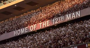 Oct 8, 2016; College Station, TX, USA; A view of the fans and cadets and the 12th man logo during the game between the Texas A&M Aggies and the Tennessee Volunteers at Kyle Field. The Aggies defeat the Volunteers 45-38 in overtime. Mandatory Credit: Jerome Miron-USA TODAY Sports