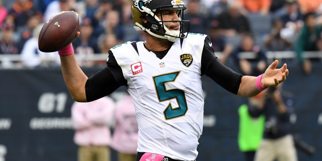Oct 16, 2016; Chicago, IL, USA; Jacksonville Jaguars quarterback Blake Bortles (5) passes the ball against the Chicago Bears during the first half at Soldier Field. Mandatory Credit: Patrick Gorski-USA TODAY Sports