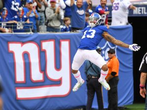Odell Beckham scores a touchdown against the Baltimore Ravens --Robert Deutsch-USA TODAY