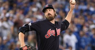 Oct 17, 2016; Toronto, Ontario, CAN; Cleveland Indians relief pitcher Andrew Miller (24) delivers a pitch against the Toronto Blue Jays during the eighth inning in game three of the 2016 ALCS playoff baseball series at Rogers Centre. Mandatory Credit: Nick Turchiaro-USA TODAY Sports