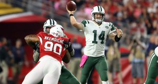 Oct 17, 2016; Glendale, AZ, USA; New York Jets quarterback Ryan Fitzpatrick (14) throws a pass against the Arizona Cardinals at University of Phoenix Stadium. The Cardinals defeated the Jets 28-3. Mandatory Credit: Mark J. Rebilas-USA TODAY Sports