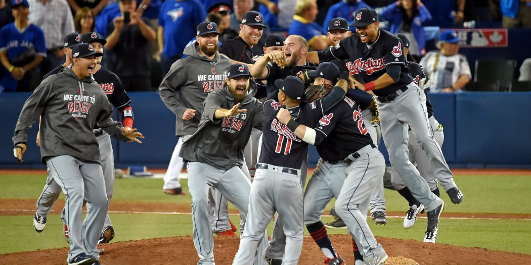 Oct 19, 2016; Toronto, Ontario, CAN; The Cleveland Indians celebrate beating the Toronto Blue Jays in game five of the 2016 ALCS playoff baseball series at Rogers Centre. Mandatory Credit: Dan Hamilton-USA TODAY Sports