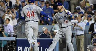 Oct 19, 2016; Los Angeles, CA, USA; Chicago Cubs first baseman Anthony Rizzo (44) celebrates with outfielder Ben Zobrist (18) after hitting a solo home run against the Los Angeles Dodgers in the fifth inning during game four of the 2016 NLCS playoff baseball series at Dodger Stadium. Mandatory Credit: Richard Mackson-USA TODAY Sports