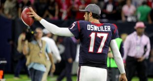 Oct 16, 2016; Houston, TX, USA; Houston Texans quarterback Brock Osweiler (17) acknowledges the fans following Houston's 26-23 overtime win over the Indianapolis Colts at NRG Stadium. Mandatory Credit: Erik Williams-USA TODAY Sports