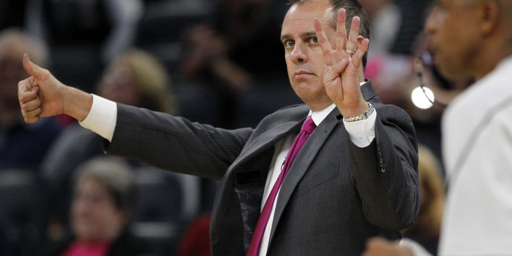 Oct 20, 2016; Orlando, FL, USA;  Orlando Magic head coach Frank Vogel signals the play during the fourth quarter of a basketball game against the New Orleans Pelicans at Amway Center. The Magic won 111-114.  Mandatory Credit: Reinhold Matay-USA TODAY Sports