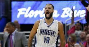 Oct 20, 2016; Orlando, FL, USA;  Orlando Magic guard Evan Fournier (10) reacts to making a 3 point shot against the New Orleans Pelicans during the fourth quarter of a basketball game at Amway Center. The game went into overtime tied at 105. Mandatory Credit: Reinhold Matay-USA TODAY Sports