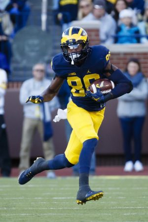 Oct 22, 2016; Ann Arbor, MI, USA; Michigan Wolverines wide receiver Jehu Chesson (86) rushes in the first half against the Illinois Fighting Illini at Michigan Stadium. Mandatory Credit: Rick Osentoski-USA TODAY Sports