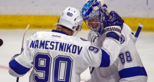 Oct 22, 2016; Ottawa, Ontario, CAN; Tampa Bay Lightning center Vladdislav Namestnikov (90) congratulates goalie Andrei Vasilevskiy (88) following their win against the against Ottawa Senators at the Canadian Tire Centre. The Lightning defeated the Senators 4-1. Mandatory Credit: Marc DesRosiers-USA TODAY Sports