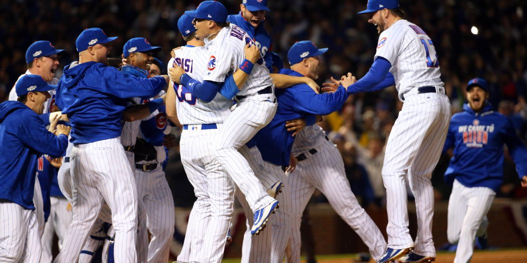 The Chicago Cubs celebrate defeating the Los Angeles Dodgers in game six of the 2016 NLCS at Wrigley Field. Cubs win 5-0 to advance to the World Series. --Jerry Lai-USA TODAY