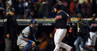 Oct 25, 2016; Cleveland, OH, USA; Cleveland Indians catcher Roberto Perez celebrates after hitting a three-run home run against the Chicago Cubs in the 8th inning in game one of the 2016 World Series at Progressive Field. Mandatory Credit: Tommy Gilligan-USA TODAY Sports