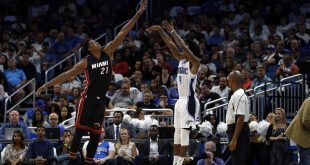 Oct 26, 2016; Orlando, FL, USA; Miami Heat center Hassan Whiteside (21) books Orlando Magic guard Elfrid Payton (4) shot during the second quarter at Amway Center. Mandatory Credit: Kim Klement-USA TODAY Sports