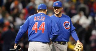 Oct 26, 2016; Cleveland, OH, USA; Chicago Cubs first baseman Anthony Rizzo (44) celebrates with third baseman Kris Bryant (17) after defeating the Cleveland Indians in game two of the 2016 World Series at Progressive Field. Mandatory Credit: Charles LeClaire-USA TODAY Sports