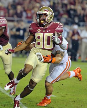 Oct 29, 2016; Tallahassee, FL, USA; Florida State Seminoles wide receiver Nyquan Murray (80) runs the ball past Clemson Tigers linebacker Ben Boulware (10) during the game at Doak Campbell Stadium. Mandatory Credit: Melina Vastola-USA TODAY Sports