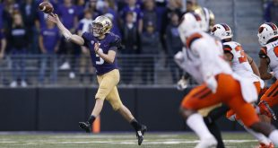 Oct 22, 2016; Seattle, WA, USA; Washington Huskies quarterback Jake Browning (3) releases a pass against the Oregon State Beavers during the third quarter at Husky Stadium. Washington won 41-17. Mandatory Credit: Jennifer Buchanan-USA TODAY Sports
