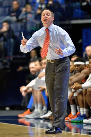 Mar 11, 2016; Nashville, TN, USA; Florida Gators head coach Mike White against the Texas A&M Aggies during the first half of game six of the SEC tournament at Bridgestone Arena. Mandatory Credit: Jim Brown-USA TODAY Sports