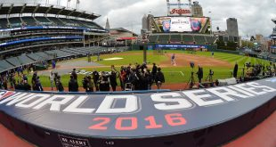 Oct 24, 2016; Cleveland , OH, USA; General view of the field during work out day prior to the start of the 2016 World Series at Progressive Field. Mandatory Credit: Ken Blaze-USA TODAY Sports