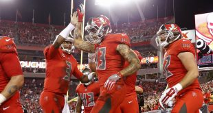 Nov 3, 2016; Tampa, FL, USA; Tampa Bay Buccaneers wide receiver Mike Evans (13) celebrates with quarterback Jameis Winston (3) after scoring a touchdown against the Atlanta Falcons during the first quarter at Raymond James Stadium. Mandatory Credit: Kim Klement-USA TODAY Sports