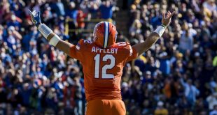 Nov 19, 2016; Baton Rouge, LA, USA; Florida Gators quarterback Austin Appleby (12) celebrates during the second half of the game against the LSU Tigers at Tiger Stadium. The Gators defeat the Tigers 16-10. Mandatory Credit: Jerome Miron-USA TODAY Sports