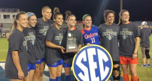 The eight seniors of the 2016 Florida soccer team celebrate with the trophy after winning their second consecutive SEC Tournament title. (L to R) Meggie Dougherty Howard, Betsy Middleton, Pamela Begic, Liz Slattery, Savannah Jordan, Brooke Sharp, Erika Nelson, Valerie Tysinger. November 6, 2016.
