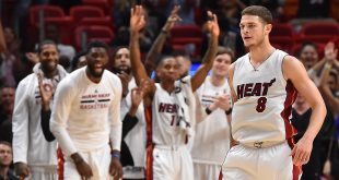 Nov 1, 2016; Miami, FL, USA; Miami Heat guard Tyler Johnson (8) celebrates after making a three point basket against the Sacramento Kings during overtime at American Airlines Arena. The Miami Heat defeat the Sacramento Kings 108-96 in overtime. Mandatory Credit: Jasen Vinlove-USA TODAY Sports