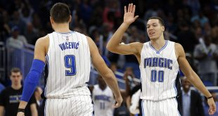 Nov 16, 2016; Orlando, FL, USA;  Orlando Magic forward Aaron Gordon (00) high fives center Nikola Vucevic (9) against the New Orleans Pelicans during the second half at Amway Center. The Magic won 89-82. Mandatory Credit: Kim Klement-USA TODAY Sports