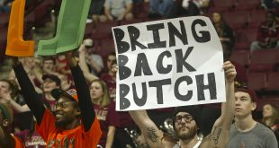 Feb 1, 2015; Tallahassee, FL, USA; The Miami Hurricanes fans hold signs expressing his desire for the return of former Hurricanes football head coach Butch Davis (not pictured) in the second half against the Florida State Seminoles at the Donald L. Tucker Center. The Seminoles won 55-54. Mandatory Credit: Phil Sears-USA TODAY Sports