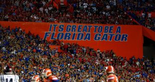 Oct 3, 2015; Gainesville, FL, USA; An overview of The Swamp where the Florida Gators play during the first half at Ben Hill Griffin Stadium. Mandatory Credit: Kim Klement-USA TODAY Sports
