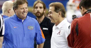 Dec 5, 2015; Atlanta, GA, USA; Florida Gators head coach Jim McElwain (left) greets Alabama Crimson Tide head coach Nick Saban (right) prior to the 2015 SEC Championship Game at the Georgia Dome. Mandatory Credit: Brett Davis-USA TODAY Sports