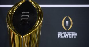 Jan 9, 2016; Phoenix, AZ, USA; General view of the college football playoff trophy during media day at Phoenix Convention Center. Mandatory Credit: Joe Camporeale-USA TODAY Sports