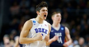Mar 19, 2016; Providence, RI, USA; Duke Blue Devils guard Grayson Allen (3) reacts after scoring against the Yale Bulldogs during the first half of a second round game of the 2016 NCAA Tournament at Dunkin Donuts Center. Mandatory Credit: Winslow Townson-USA TODAY Sports