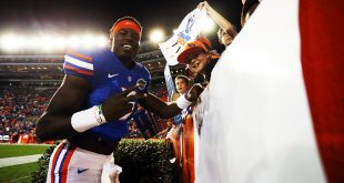 Apr 8, 2016; Gainesville, FL, USA; Florida Gators wide receiver Ahmad Fulwood (5) signs autographs after the Orange and Blue game at Ben Hill Griffin Stadium. Blue won 38-6. Mandatory Credit: Logan Bowles-USA TODAY Sports