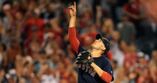 July 29, 2016; Anaheim, CA, USA; Boston Red Sox starting pitcher Rick Porcello (22) reacts after the 6-2 victory against the Los Angeles Angels at Angel Stadium of Anaheim. Mandatory Credit: Gary A. Vasquez-USA TODAY Sports