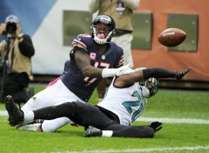 Oct 16, 2016; Chicago, IL, USA; Chicago Bears wide receiver Alshon Jeffery (17) and Jacksonville Jaguars cornerback Jalen Ramsey (20) fight for a pass in the first quarter at Soldier Field. Mandatory Credit: Matt Marton-USA TODAY Sports