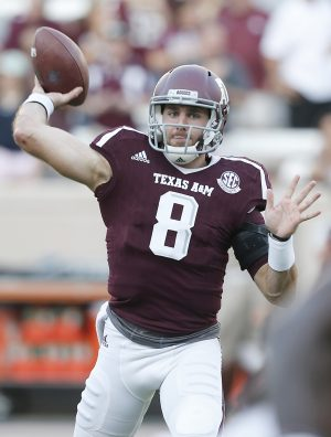 Oct 29, 2016; College Station, TX, USA; Texas A&M Aggies quarterback Trevor Knight (8) warms up before playing against the New Mexico State Aggies at Kyle Field. Mandatory Credit: Thomas B. Shea-USA TODAY Sports