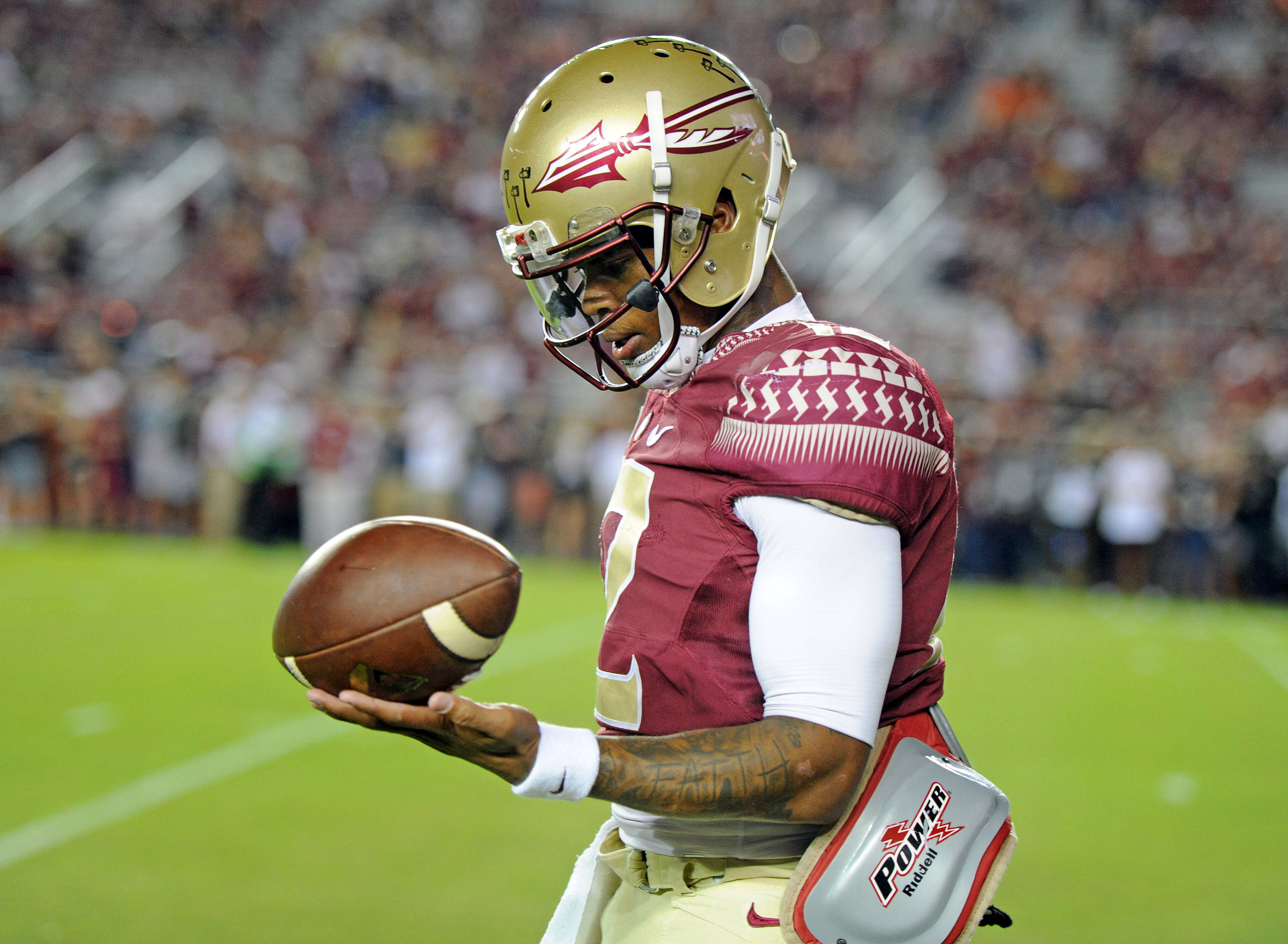 Oct 29, 2016; Tallahassee, FL, USA; Florida State Seminoles quarterback Deondre Francois (12) warms up before the game against the Clemson Tigers at Doak Campbell Stadium. Mandatory Credit: Melina Vastola-USA TODAY Sports