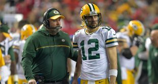 Oct 30, 2016; Atlanta, GA, USA; Green Bay Packers head coach Mike McCarthy and quarterback Aaron Rodgers (12) talk during a stoppage in play against the Atlanta Falcons in the fourth quarter at the Georgia Dome. The Falcons defeated the Packers 33-32. Mandatory Credit: Dale Zanine-USA TODAY Sports