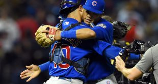 Nov 1, 2016; Cleveland, OH, USA; Chicago Cubs players Willson Contreras (40) and Addison Russell celebrate after defeating the Cleveland Indians in game six of the 2016 World Series at Progressive Field. Mandatory Credit: Tommy Gilligan-USA TODAY Sports