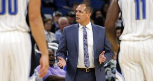 Nov 3, 2016; Orlando, FL, USA;  Orlando Magic head coach Frank Vogel reacts after a play in the second quarter against the Sacramento Kings at Amway Center. Mandatory Credit: Logan Bowles-USA TODAY Sports