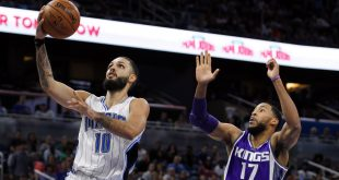 Nov 3, 2016; Orlando, FL, USA; Orlando Magic guard Evan Fournier (10) goes up for a shot in the second half as Sacramento Kings guard Garrett Temple (17) defends at Amway Center. Orlando Magic won 102-94. Mandatory Credit: Logan Bowles-USA TODAY Sports