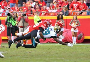 Nov 6, 2016; Kansas City, MO, USA; Jacksonville Jaguars tight end Marcedes Lewis (89) can't make the catch as Kansas City Chiefs strong safety Eric Berry (29) breaks up the play during the second half at Arrowhead Stadium. The Chiefs won 19-14. Mandatory Credit: Denny Medley-USA TODAY Sports