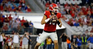 Oct 29, 2016; Jacksonville, FL, USA; Georgia Bulldogs quarterback Jacob Eason (10) drops back against the Florida Gators during the second half at EverBank Field. Florida Gators defeated the Georgia Bulldogs 24-10. Mandatory Credit: Kim Klement-USA TODAY Sports