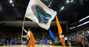 Nov 11, 2016; Jacksonville, FL, USA; A Florida Gators flag waves prior to a game with the Florida Gators and the Florida Gulf Coast Eagles at Jacksonville Veterans Memorial Arena. Mandatory Credit: Logan Bowles-USA TODAY Sports